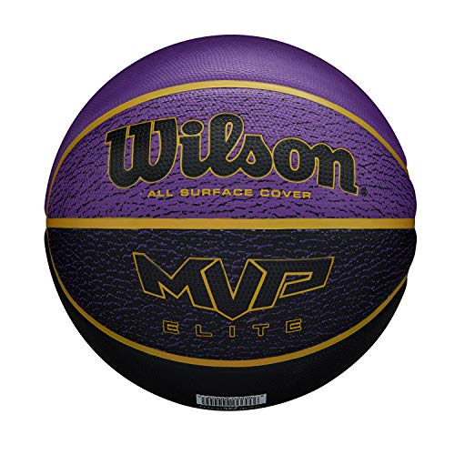 Wilson MVP Elite BSKT 295 PRBL, WTB1461XB07 Pallone da Basket, Taglia 7, Rivestimento in Gomma, Tutte Le Superfici, Viola/Nero