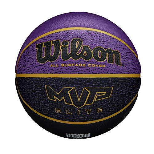 Wilson Basketball, MVP ELITE BSKT 295 PRBL, Größe: 7, Gummi-Material, Für Innen- und Außennutzung, Violett/schwarz, WTB1461XB07