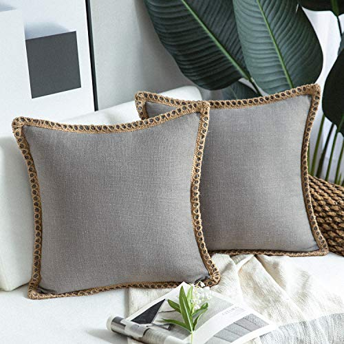 Phantoscope Pack of 2 Farmhouse Decorative Throw Pillow Covers Burlap Linen Trimmed Tailored Edges Pillowcase, Grey, 18 x 18 inches, 45 x 45 cm