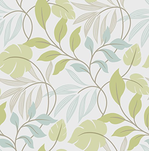 Wall Pops NU1657 Meadow Peel and Stick Wallpaper, Blue/Green