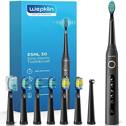 Electric Toothbrush for Adults Rechargeable Whitening Ultrasonic Toothbrush with 8 Duponts Brush Heads 5 Modes 40000 VPM Timer Waterproof, 4H Charge for 30 Days , WepklinBlack Series
