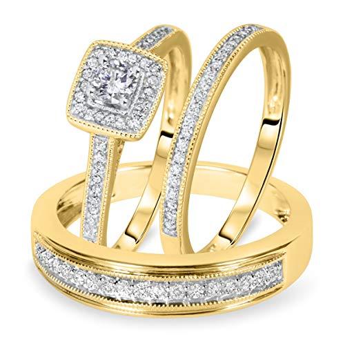 SLV Juego de anillos de boda de 1/2 quilates de corte redondo D/VVS1 con diamante a juego para él y ella chapado en oro amarillo de 14 quilates, plata 925