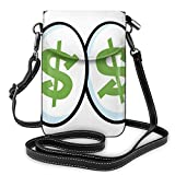 Women Small Cell Phone Purse Crossbody,Green Dollar Signs In Big Cartoon Eyes Greed For Money Penny Pincher
