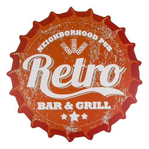 Haus und Deko Polypropylen-Tischset rund gezackt 38 cm Ø Platzset abwaschbar Platzdeckchen Kronkorken Retro Bar & Grill