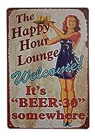 ハッピーアワーラウンジへようこそ! それはビールレトロビンテージ装飾金属ティンサインインチです。