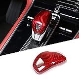 CHEYA 100% Real Carbon Fiber Car Interior Speed Gear Shift Knob Head Cover Trim Sticker for Porsche Panamera 2017-2020 Auto Accessories (Red)