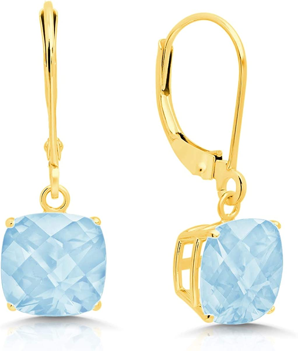 Certified 14k Yellow Gold Aquamarine Leverback Earrings Directly managed Low price store Dangle