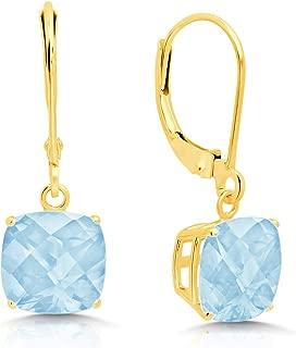Certified 14k Yellow or White Gold Cushion Cut Gemstone Dangle Leverback Earrings (8mm)