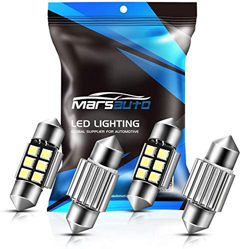 Marsauto 31mm DE3175 Festoon LED Bulbs Extremely Bright LED Bulbs 1.2inch 200LM 6500K 2835SMD 3175 DE3021 3022 3021 for Internior Car Licese Plate Dome Map Lights 4 Pack