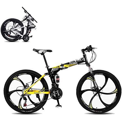 J.W. Faltbares Mountainbike 26 Zoll, 8 Sekunden Schnelle Falten MTB Fahrrad 21 Geschwindigkeit Stahlrahmen Dual-Scheibenbremse Rennrad Für Off-Road-Radfahren,Gelb