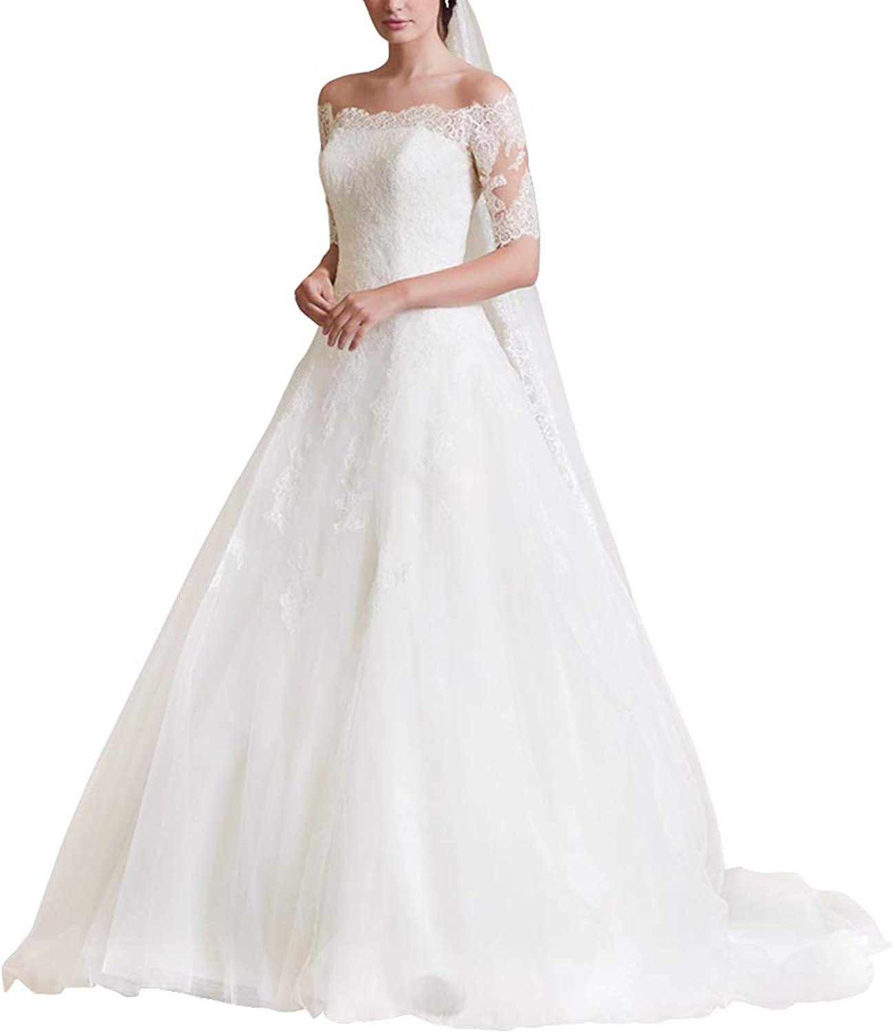 Cdress Lace Appliques Wedding Dresses Tulle Long Bridal Gowns Boat Neck Sweep Train for Bride