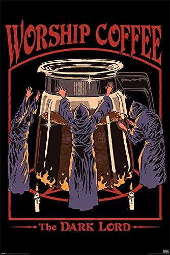 Grindstore Steven Rhodes Worship Coffee Maxi Poster, Unlaminierten, Bunten, 61x91.5cm