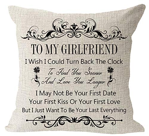 "To My Girlfriend I Wish I Could Turn Back The Clock I Just Want To Be Your Everything Anniversary Birthday Cotton Linen Square Throw Waist Pillow Case Decorative Cushion Cover Pillowcase Sofa 18""x 18"""