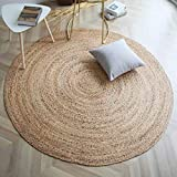 The Knitted Co. 100% Jute Area Rug - Braided Design Hand Woven Carpet - Home Decor for Living Room Hallways - Round Natural Fibers (8 Feet, Natural)