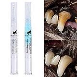 Kit de Limpieza Dental para Cepillo de Dientes para Perros y Gatos, Limpiador de Dientes para Mascotas, artículos de Aseo para Mascotas, Pluma de Limpieza para sarro y cálculo (5 ml × 2)