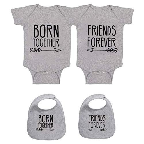 YSCULBUTOL - Conjunto de ropa para bebé, diseño inspirado en amigos - Gris - 7-9 meses