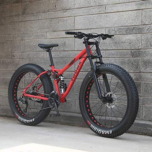 LJQ Bicicleta de montaña de 26 Pulgadas, MTB rígida Juvenil para Adultos, Bicicleta de Ciudad con Marco de Acero al Carbono, Bicicleta de montaña con suspensión Completa de neumáticos Grandes