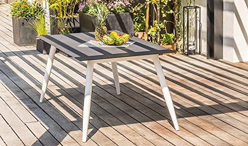 DCB GARDEN Scandi Table de Jardin, Aluminium, Blanc, 160x90