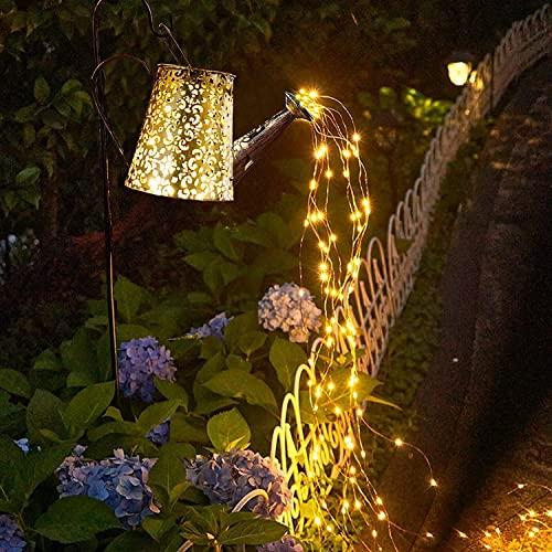 Solar Gießkanne Lichter Gartendeko Lichterketten Außen Wasserdicht Duschlicht - Fairy LED Solarleuchten Art Metall Vintage Deko Lampe für Yard Balkon Garden Path Lamp(With Bracket)