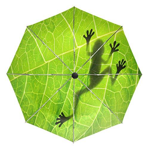 Wamika Frosch Schatten auf Blatt Automatischer Regenschirm Tier Grün Winddicht Wasserdicht UV-Schutz Reise Regenschirm - 3 Falten Auto Öffnen/Schließen Knopf Sonne & Regen Auto Regenschirm