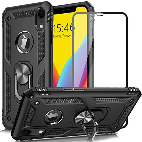 AUPAI iPhone XR Case with Glass Screen Protector, Heavy Duty 15ft Drop Tested Shockproof Cover with Magnetic Ring Kickstand,Protective Phone Case for iPhone XR Black