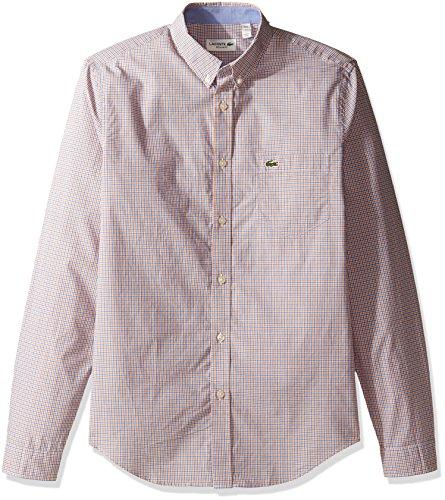 Lacoste Herrenhemd, langärmelig, Popeline, kariert, Normale Passform, gewebtes Hemd, CH3954 - Mehrfarbig - Mittel