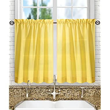 Ellis Curtain Stacey Tailored Tier Pair Curtains, 56  x 24 , Yellow