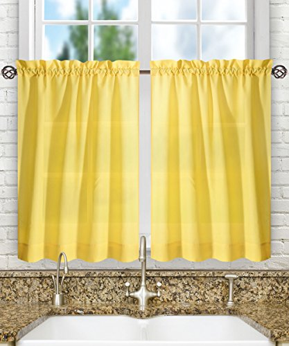 """Ellis Curtain Stacey Sheer Tailored Tier Pair Curtains, 56"""" x 36"""", Yellow"""