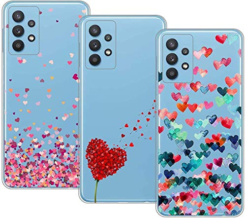 Young & Min Cover per Samsung Galaxy A52 (4G&5G), 3 Pack Sottile Morbido TPU Bumper Silicone Antiurto Protettiva Custodia per Galaxy A52 con Disegni Cuore