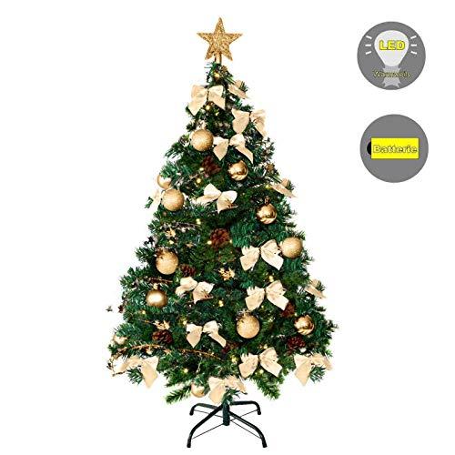 Baunsal GmbH & Co.KG Weihnachtsbaum Tannenbaum Christbaum künstlich 120 cm grün mit Goldener Dekoration und Lichterkette mit Micro LEDs