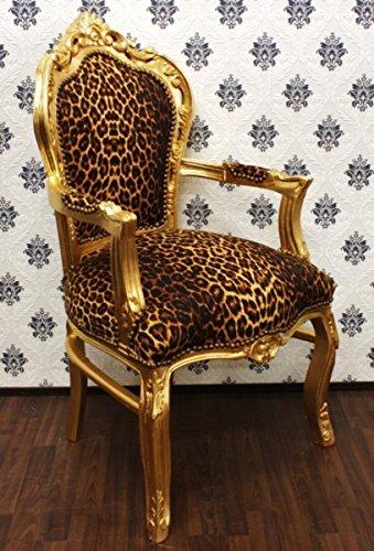 Casa Padrino Barock Esszimmer Stuhl Leopard/Gold mit Armlehnen