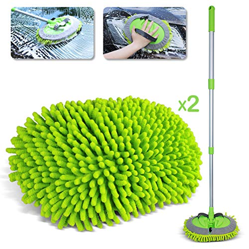 """2 in 1 Chenille Microfiber Car Wash Brush Kits Mop with 45"""" Long Handle (Aluminum Alloy), Extendable Car Cleaning Kit Brush Duster, Scratch Free Cleaning Tool for Washing Truck, Car, RV (Green)"""