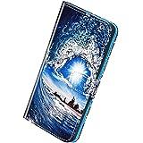 Herbests Compatibile con Samsung Galaxy A7 2018 Cover,Custodia Pelle Portafoglio Flip Case a Libro Bookstyle Cover con Chiusura Magnetica Carte Slots Custodia Colorate Wallet Case,Onde