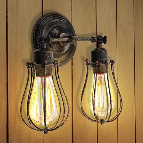 KINGSO Wandlampe Vintage E27 Wandleuchte Industrial Retro Wandlampe Rustikal Wandleuchte Verstellbare Lampe innen Metall Lampenschirm schwenkbar für Schlafzimmer Wohnzimmer Esstisch (Ohne Glühbirne)