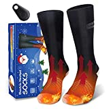 Remote Control Heated Socks for Men Women, Electric Heating Socks, Rechargeable 4000mAh Battery Powered Thermal Foot Warmers, Winter Warm Socks for Skiing Riding Camping Hiking Motorcycle Boot Heater