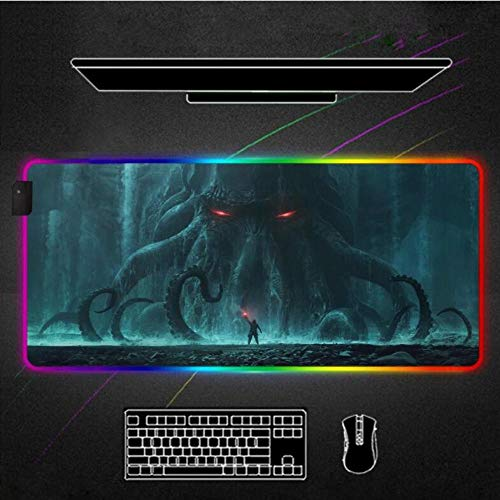 Mouse Pads Cthulhu Monster RGB Mouse Pad Black Gamer Accessories Large Led Mousepad XL Gaming Desk Mats Pc Desk Play Mat with Backlit (Size_4)500X1000X4Mm