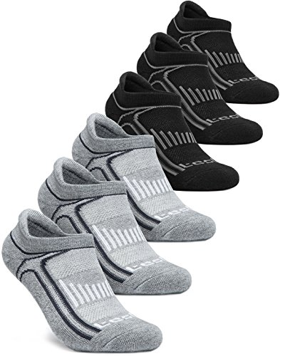 Tesla CLSL TM-MZS06-KLB_Medium Men's 6-Pairs Atheltic No Show Socks Cushioned Comfort w Mesh MZS06