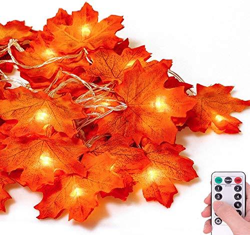 Ahornblätter Lichterketten, 3M 30LED Herbst Blättergirlande 8 Modis (mit Fernbedienung) IP44 Batteriebetrieben, Herbst Ahornblatt Deko für Hochzeiten, Thanksgiving und Außen Zuhause Herbstparty