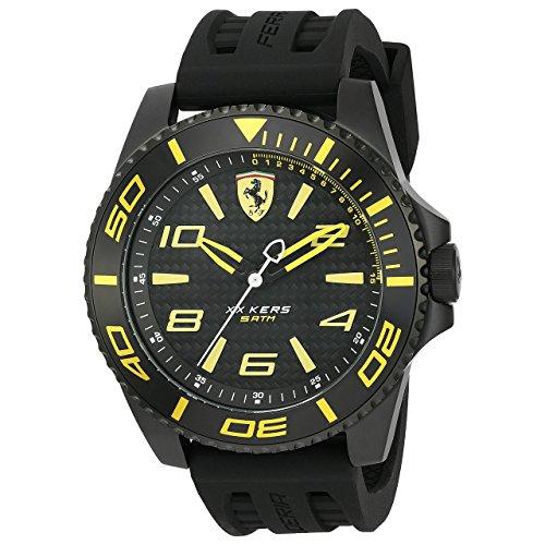 Orologio da uomo analogico al quarzo con cinturino in silicone nero, Scuderia Ferrari 0830307