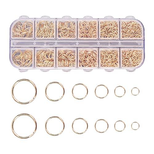 1200 Piezas Anillos de Salto Abiertos de Metal de 4-10 mm, Conectores de Anillo Redondo Para Hacer Joyería DIY, Collar de Pulsera de Reparación, Accesorios de Joyería 6 tamaños (oro)