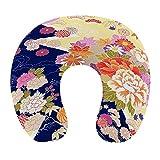 CIKYOWAY Almohada Viaje,Naranja Japonés Tradicional Kimono Motivos Patrón Flor Oriental,Espuma de Memoria cojín de Cuello,Almohadas de Acampada,Soporte de Cuello para Viaje Coche
