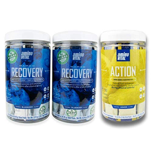 Amino VITAL Rapid Recovery (Qty 2) and Action Lemon(Qty1) Bundle- Vegan BCAA Powder | Pre and Post Workout Drink