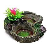 M.Z.A Decoración de tanque de reptiles de resina con plataforma de reptiles artificial para árbol de tronco de reptil, plato de comida para lagarto, gecko, rana de agua (tipo 1)