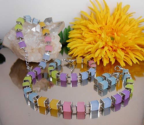 3er Set Collier/Würfelkette Ohrringe Armband Würfel in matt Pastell /5968