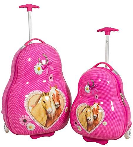 2tlg. Reise Koffer Trolley Set für Kinder Mädchen Jungen mit Stabiler Hartschale aus Polycarbonat und tollem Motiv (Pferde)