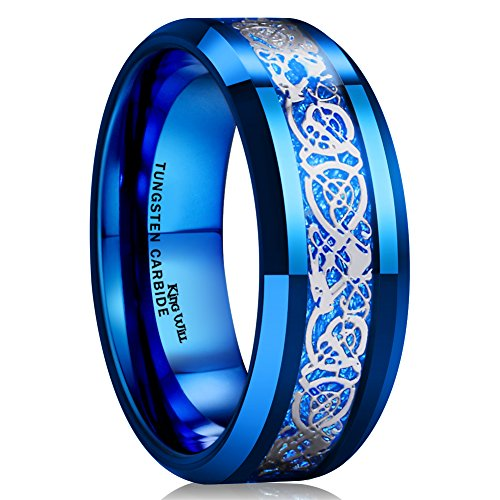 King Will DRAGON Men Women 8mm Tungsten Carbide Ring Blue Carbon Fiber Silver Celtic Dragon Inlay Wedding Band (10)