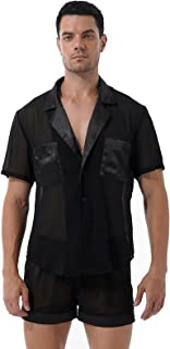 CHICTRY Men's Silk Satin Pajamas Set Short Sleeve and Shorts Chiffon Classic Sleepwear Loungewear