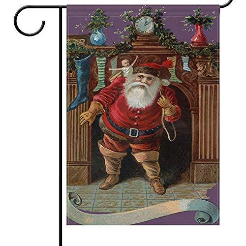 qinzuisp Yard Vlag Vrolijk Kerst Huis Vlaggen Dubbele Zijde Vintage Kerstman Wenselijke Open Haard Welkom Winter Vakantie Yard Outdoor Tuin Vlag Banner Voor Feest Thuis Kerstversieringen 32X48Cm
