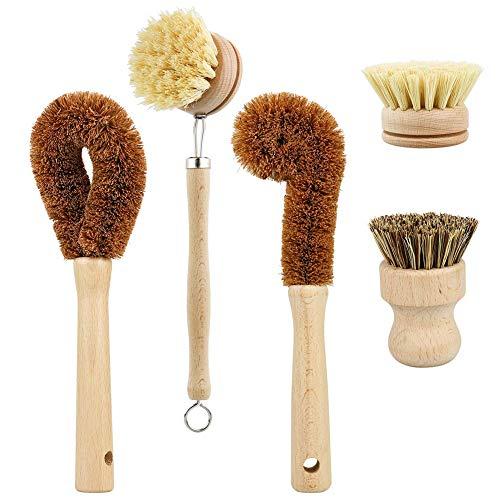 HELLOGIRL Juego de cepillos de Limpieza de Fibras de Coco de 5 Piezas Cepillo de Plato de Palma con Mango de Madera para Limpiar Platos de Cocina