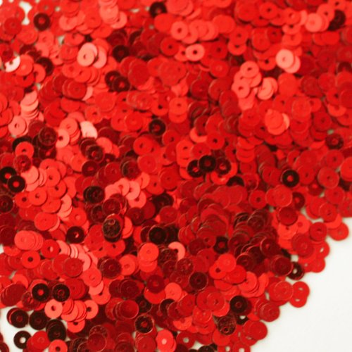 4mm FLAT SEQUINS ~ Red Metallic ~ Loose paillette sequins for embroidery, applique, arts, crafts, and embellishment. Made in USA